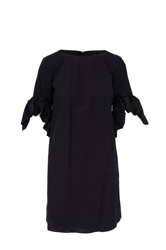 Paule Ka Black Crinkled Cotton Flower Cuff Dress