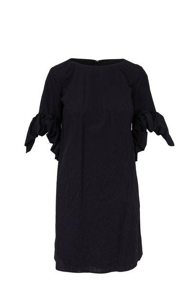 Paule Ka - Black Crinkled Cotton Flower Cuff Dress