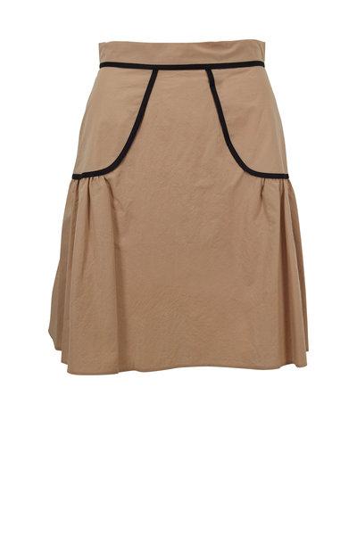 Paule Ka - Beige Cotton Contrast Trim Skirt