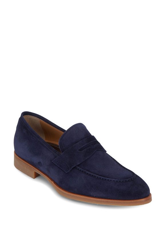 Di Bianco Cosmos Navy Blue Suede Penny Loafer
