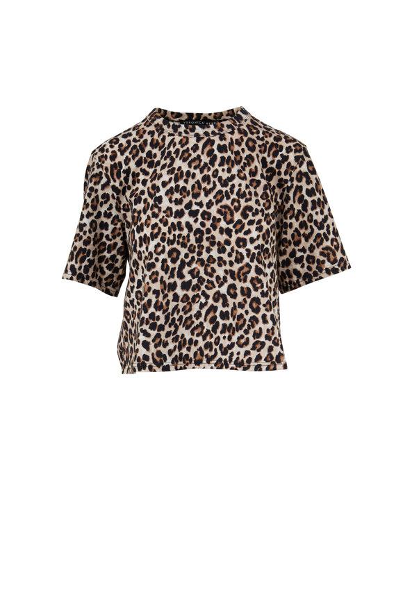 Veronica Beard Abbey Leopard Print Crop T-Shirt