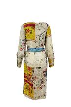 Oscar de la Renta - Multicolor Silk Floral Print Wrap Dress