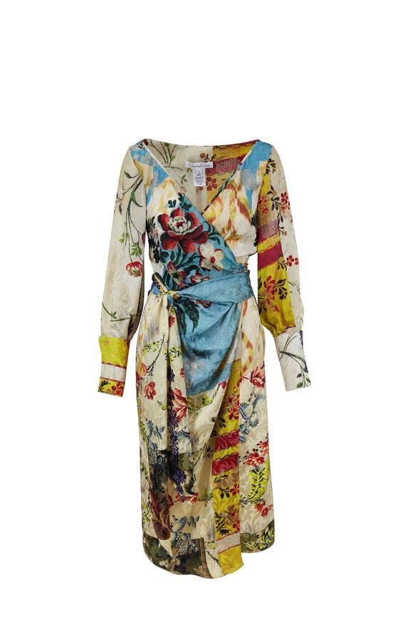 Oscar de la Renta Multicolor Silk Floral Print Wrap Dress