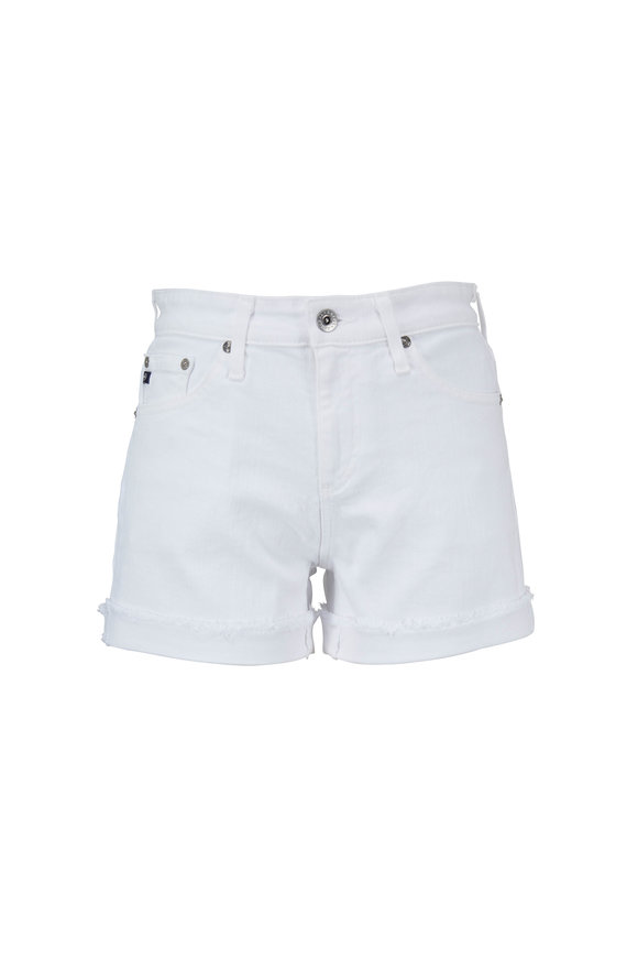 AG - Adriano Goldschmied Hailey White Ex-Boyfriend Raw Edge Denim Shorts