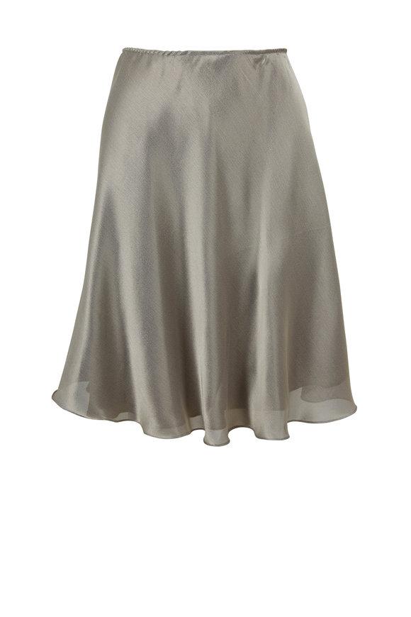 Peter Cohen Silver Lamé Slip On Skirt