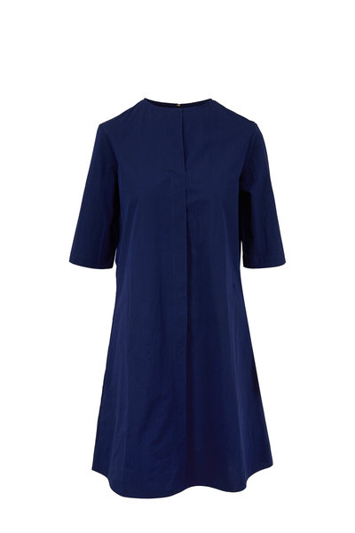 Peter Cohen - Navy Blue Cotton Elbow Sleeve Ethnic Dress