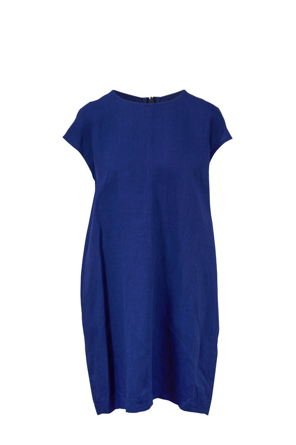 Antonelli Lamped Blue Linen Cap Sleeve Dress