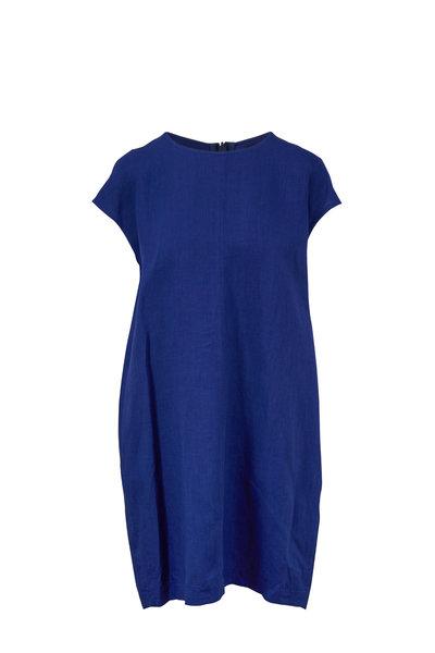 Antonelli - Lamped Blue Linen Cap Sleeve Dress