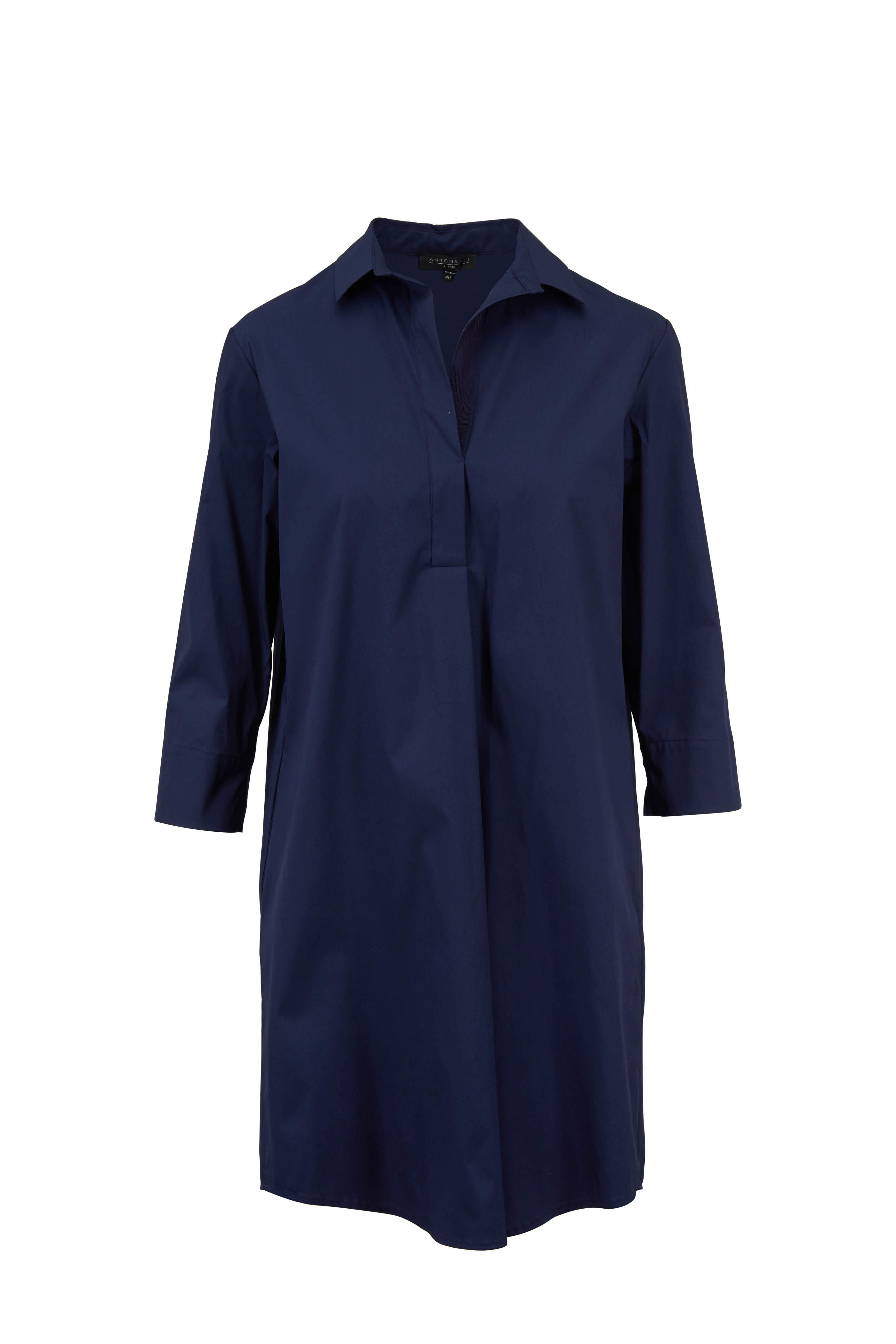 ed13a24319 Antonelli - Montana Navy Blue Stretch Poplin Shirtdress