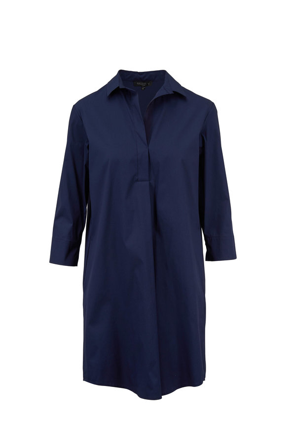 Antonelli Montana Navy Blue Stretch Poplin Shirtdress