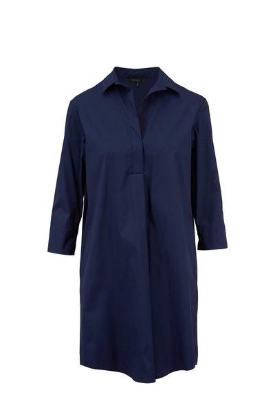 Antonelli - Montana Navy Blue Stretch Poplin Shirtdress