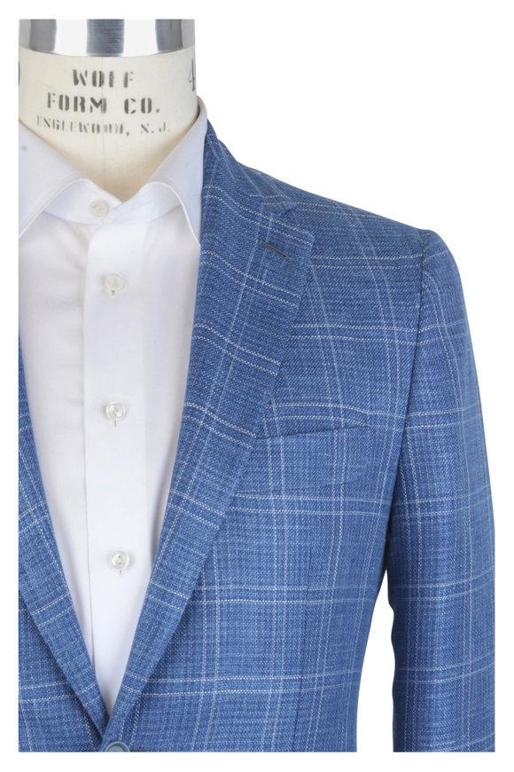 Mauro Blasi Blue Plaid Wool, Silk & Linen Sportcoat