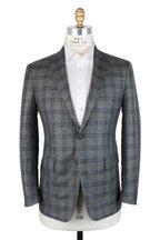 Mauro Blasi - Green & Blue Windowpane Wool & Silk Sportcoat