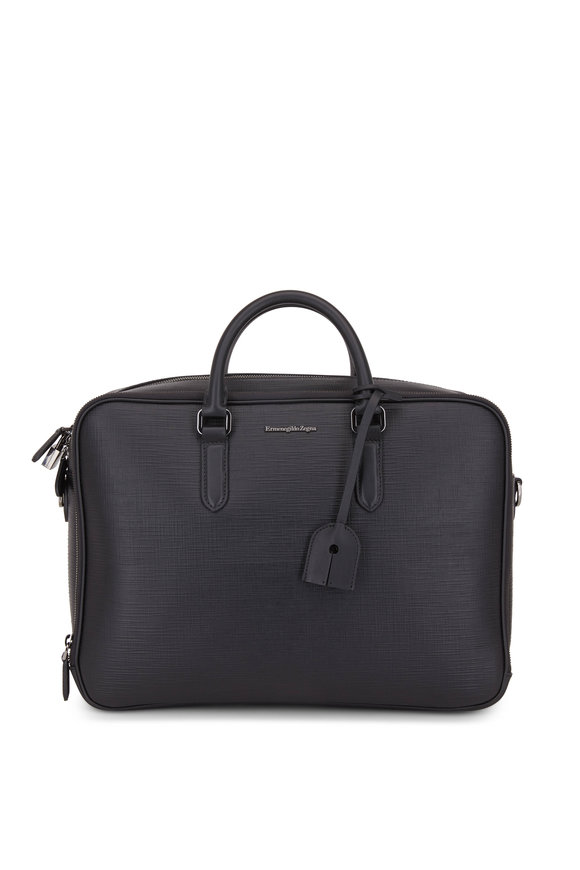 Ermenegildo Zegna Black Textured Leather Business Bag