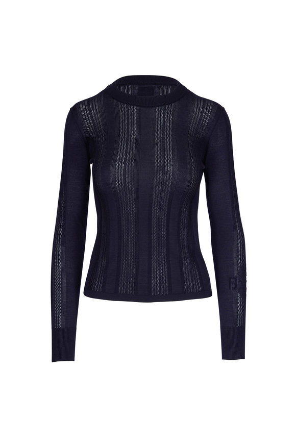 Barrie Navy Ribbed Cashmere & Silk Crewneck Sweater