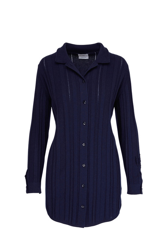 Barrie Navy Cashmere Button-Front Shirtdress