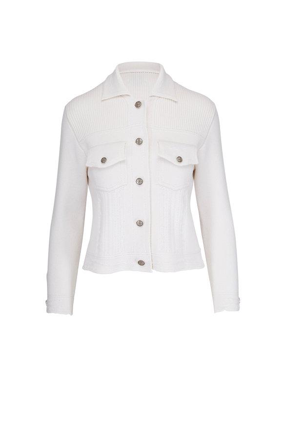 Barrie White Cashmere & Cotton Knit Denim Style Jacket