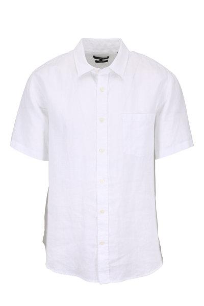 Vince - Optic White Linen Short Sleeve Shirt