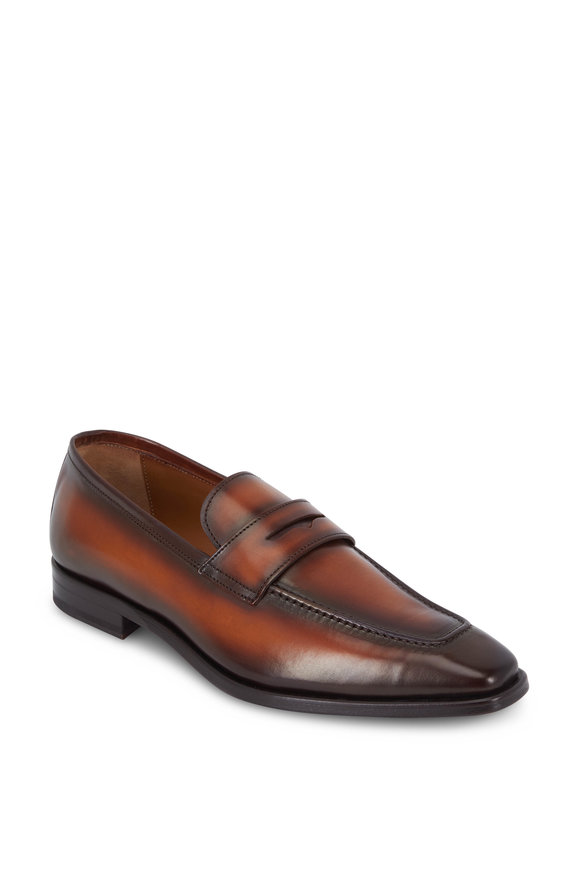 Bruno Magli Corrado Cognac Burnished Leather Penny Loafer