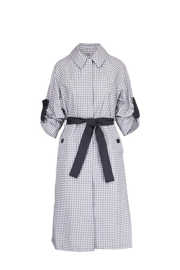 Dorothee Schumacher Grey & White Check Tied-Sleeve Raincoat
