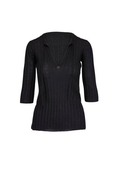 Dorothee Schumacher - Black Ribbed Elbow Sleeve Sweater