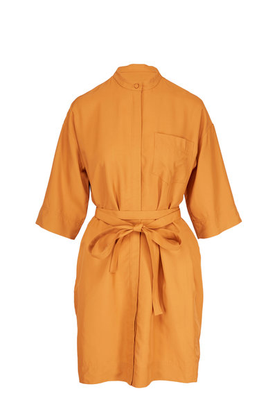 CO Collection - Amber Elbow Sleeve Wrap-Belt Shirtdress