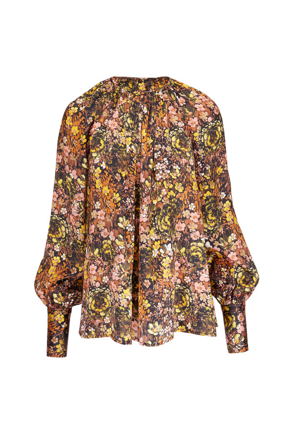 CO Collection Multicolor Floral Print Silk Blouse