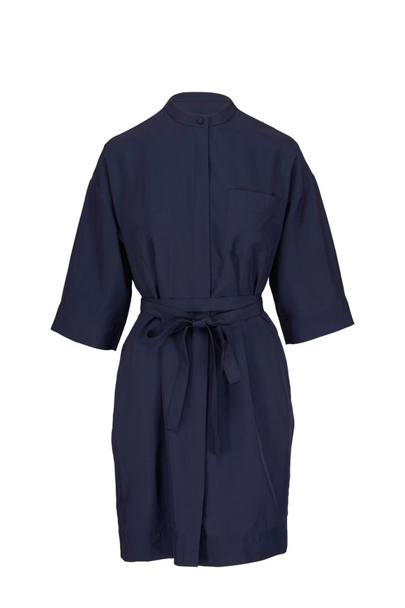 CO Collection Navy Elbow Sleeve Wrap-Belt Shirtdress