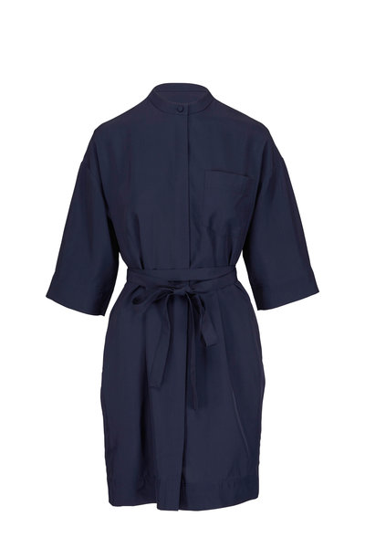 CO Collection - Navy Elbow Sleeve Wrap-Belt Shirtdress