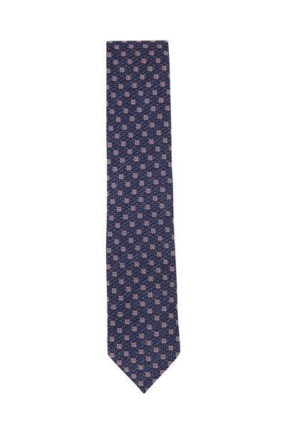 Ermenegildo Zegna - Navy Blue Floral Silk Necktie