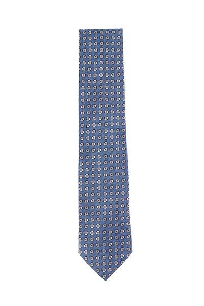 Ermenegildo Zegna - Blue Silk Floral Pattern Necktie