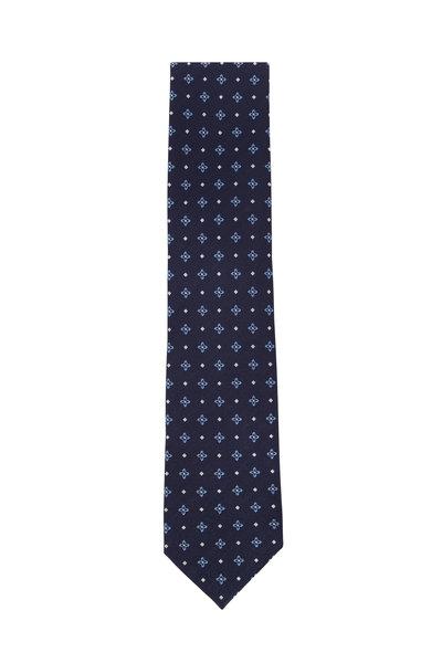 Ermenegildo Zegna - Navy Blue Silk Geometric Necktie