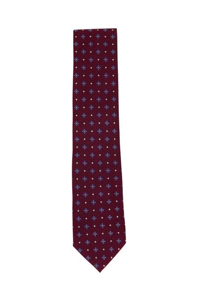 Ermenegildo Zegna - Burgundy Silk Geometric Necktie