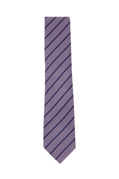 Ermenegildo Zegna - Light Purple Silk Striped Necktie