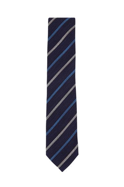 Ermenegildo Zegna - Navy Blue & Gray Stripe Necktie