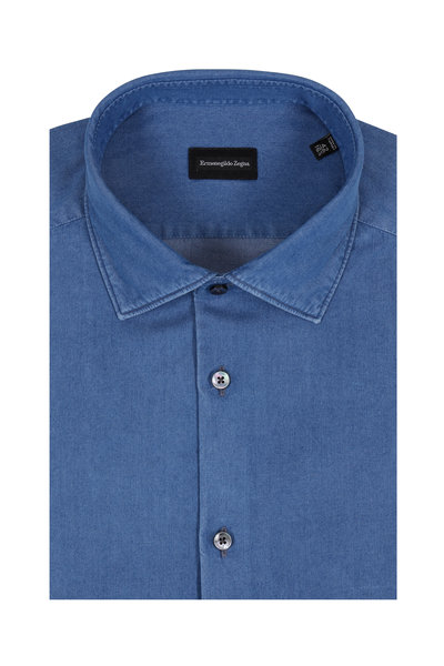 Ermenegildo Zegna - Solid Indigo Blue Dress Shirt