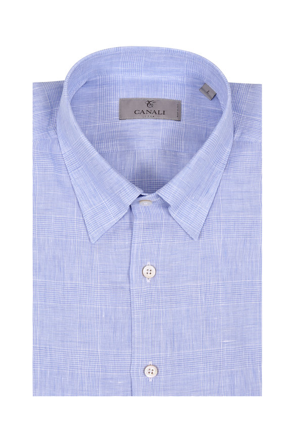 Canali Light Blue Tonal Plaid Linen Sport Shirt