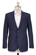 Ermenegildo Zegna - Navy Tonal Check Wool & Silk Suit