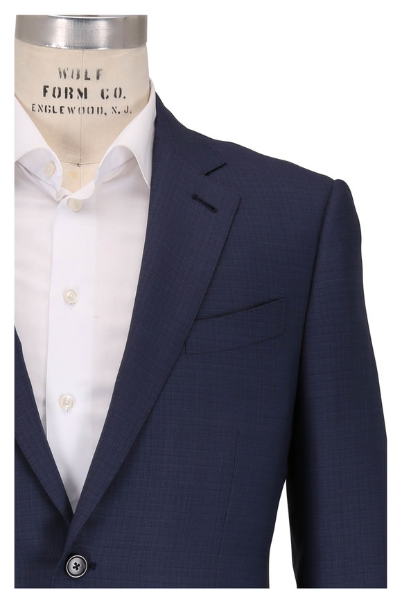Ermenegildo Zegna Navy Tonal Check Wool & Silk Suit