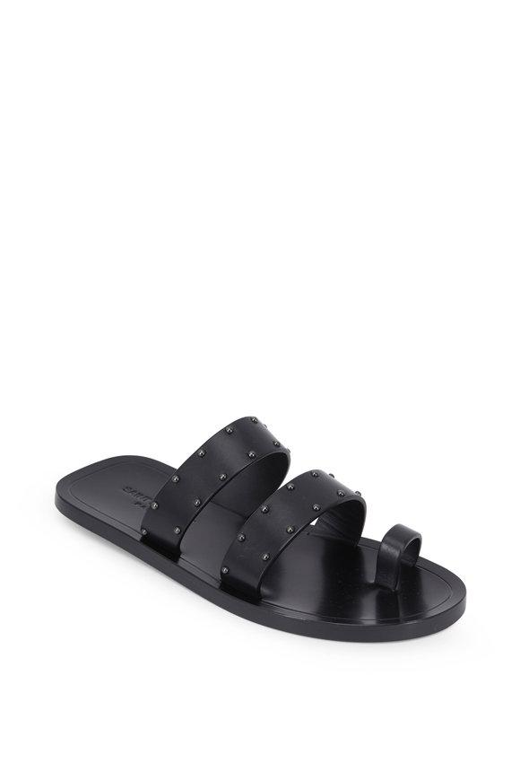 Saint Laurent Ashton Black Studded Toe-Ring Sandal