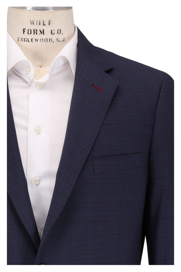 Samuelsohn Bennet Navy Blue Tonal Check Wool Suit