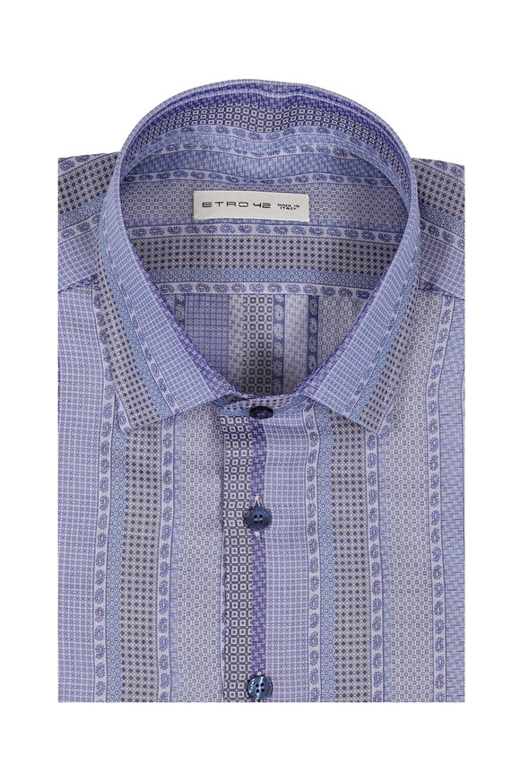 Etro Blue Multi Pattern Sport Shirt