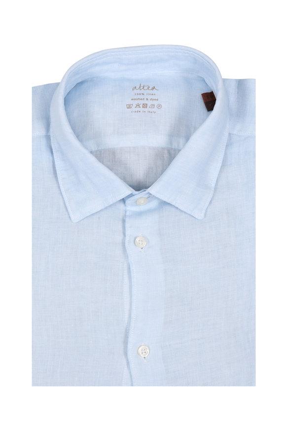 Altea Light Blue Wash Linen Sport Shirt