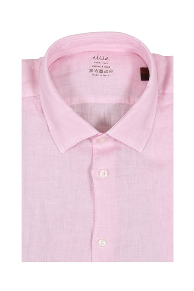 Altea - Light Pink Wash Linen Sport Shirt