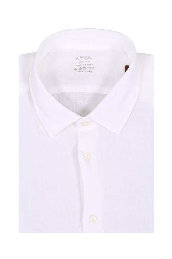 Altea Solid White Linen Sport Shirt