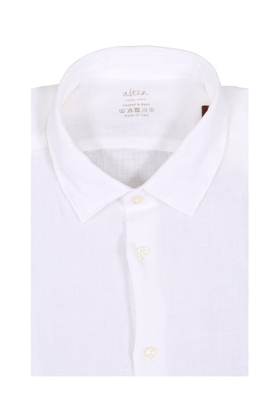 Altea - Solid White Linen Sport Shirt