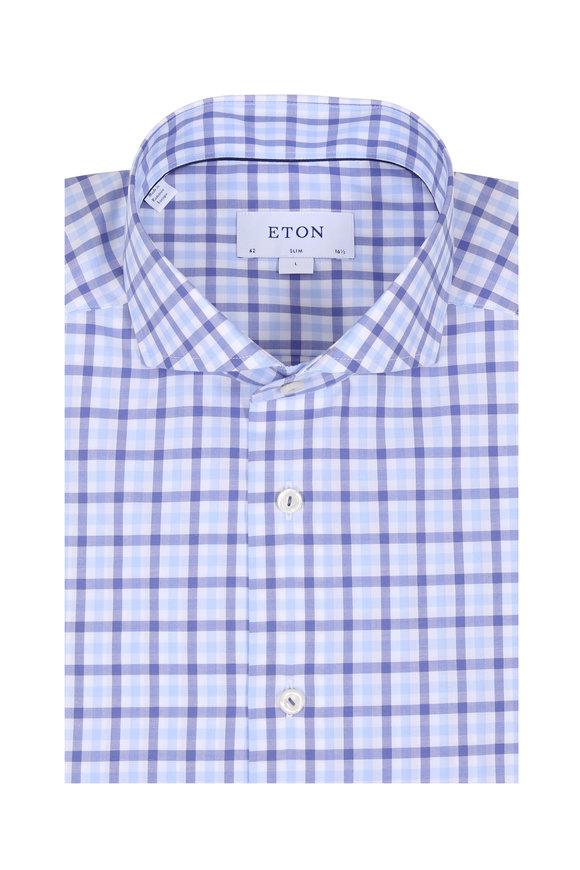 Eton Blue Gingham Slim Fit Sport Shirt