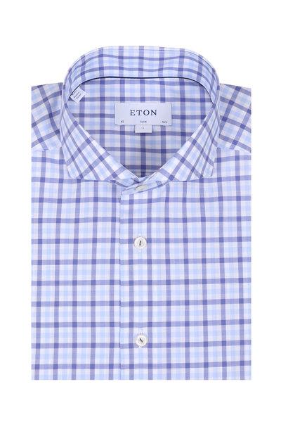 Eton - Blue Gingham Slim Fit Sport Shirt