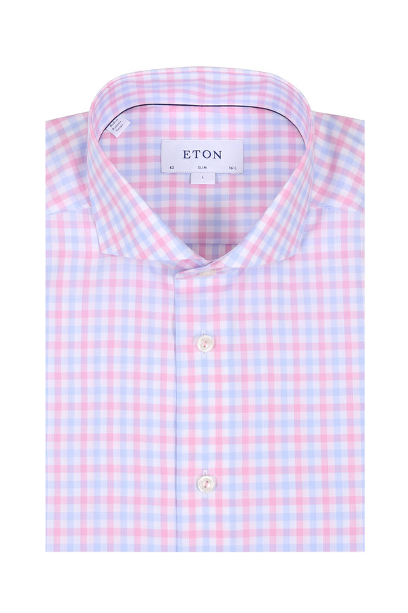 Eton Light Pink & Light Blue Gingham Slim Sport Shirt