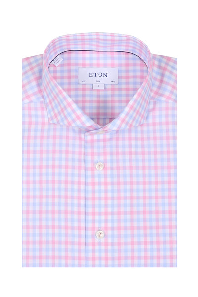 Eton - Light Pink & Light Blue Gingham Slim Sport Shirt